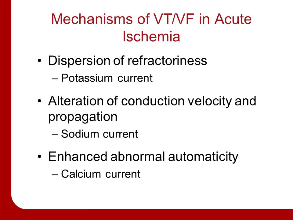 Mechanisms of VT/VF in Acute Ischemia