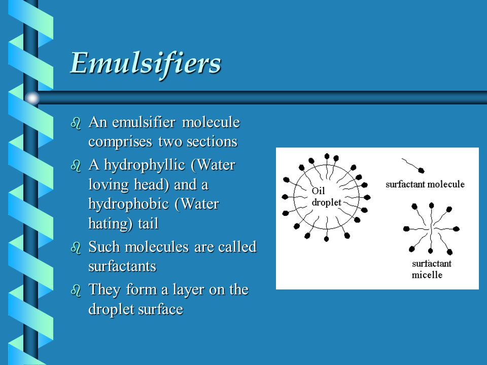 Emulsifiers An emulsifier molecule comprises two sections