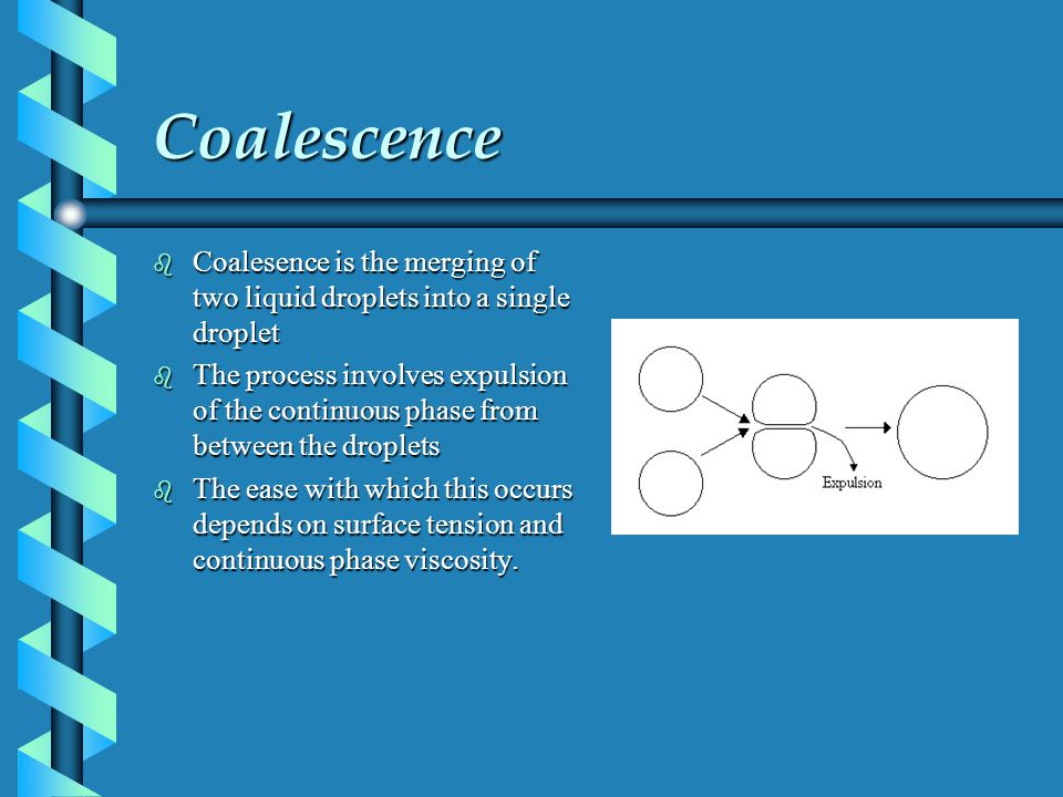 Coalescence Coalesence is the merging of two liquid droplets into a single droplet.