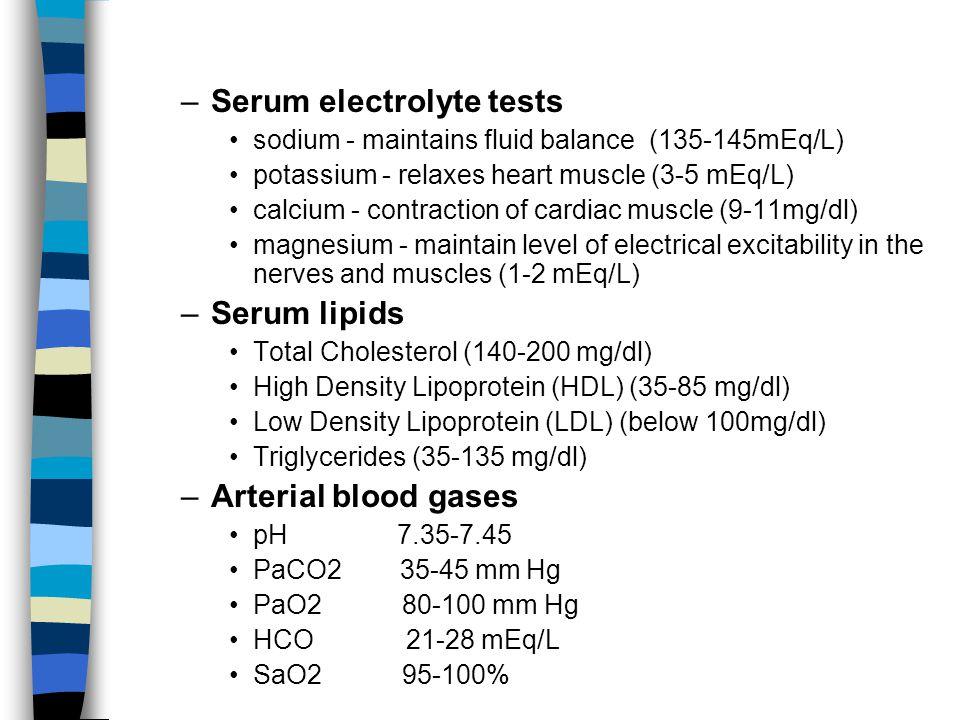 Serum electrolyte tests