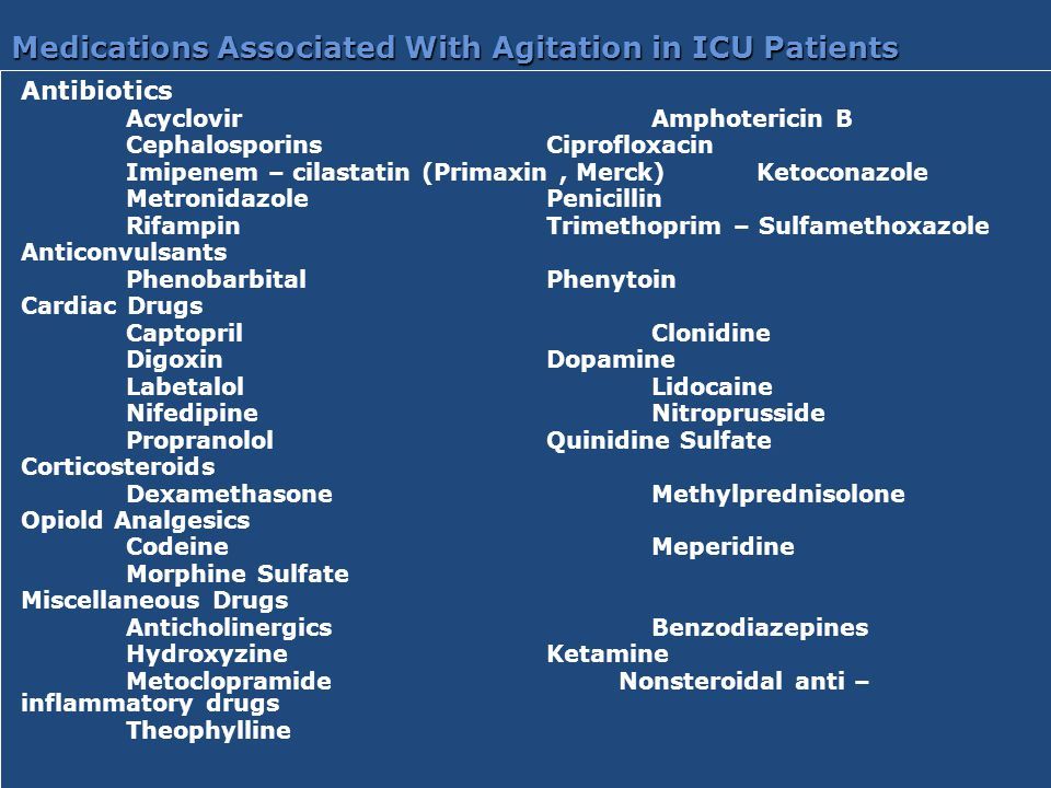 Medications Associated With Agitation in ICU Patients