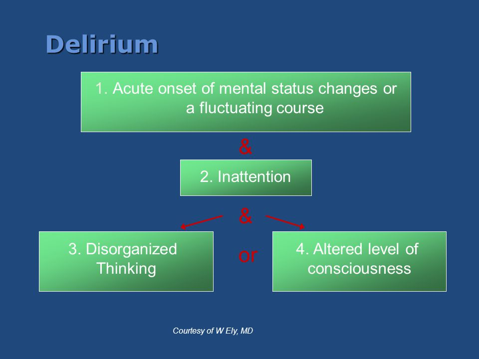 Acute onset of mental status changes or a fluctuating course