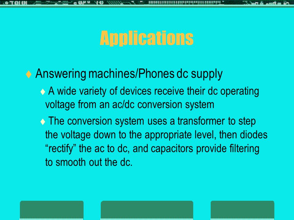 Applications Answering machines/Phones dc supply