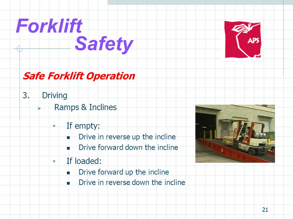 Forklift Safety Safe Forklift Operation 3. Driving Ramps & Inclines