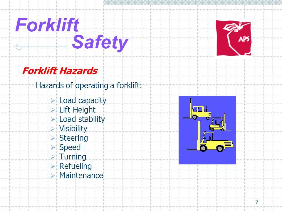 Forklift Safety Forklift Hazards Hazards of operating a forklift: