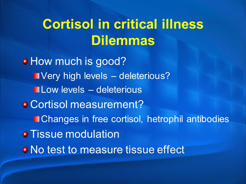 Cortisol in critical illness Dilemmas