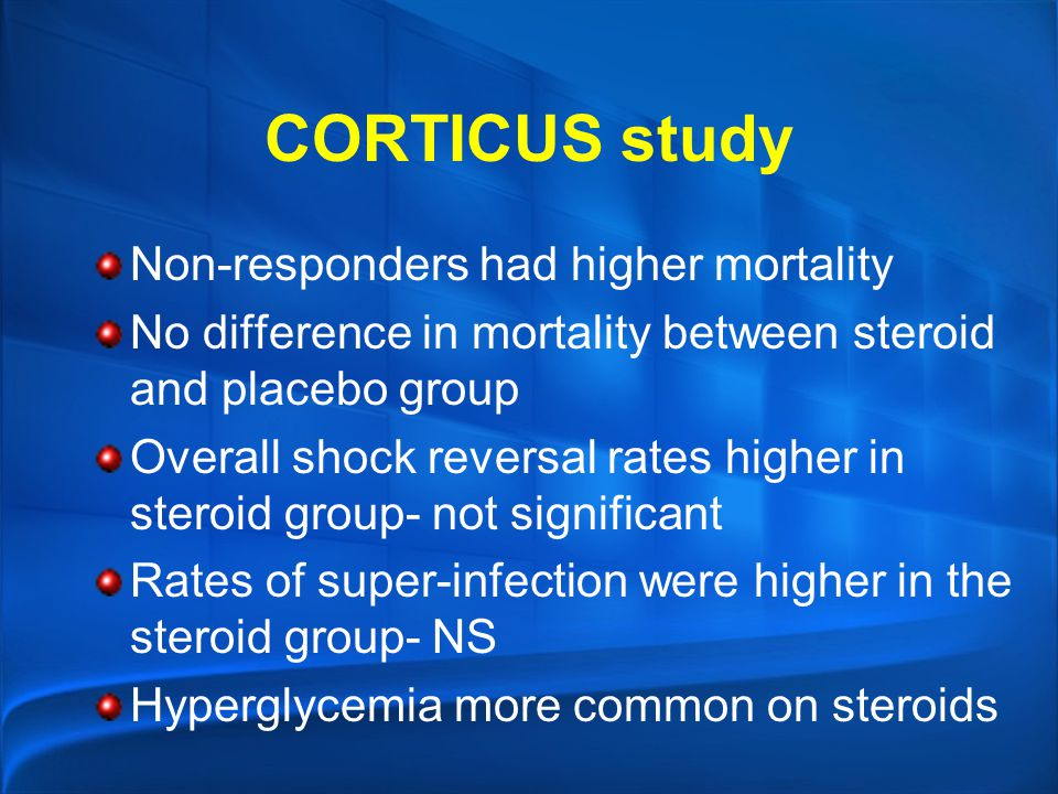 CORTICUS study Non-responders had higher mortality