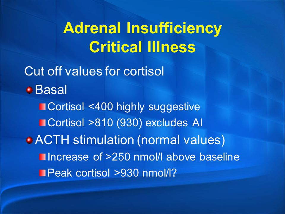 Adrenal Insufficiency Critical Illness