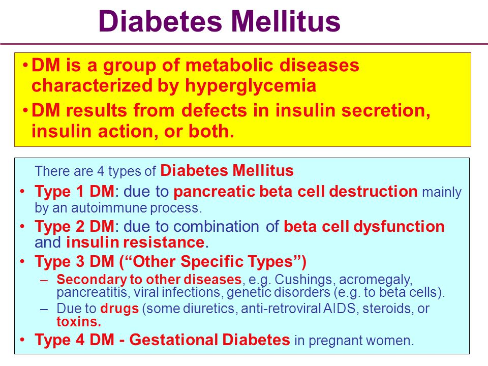 an analysis on the disease called diabetes mellitus High levels of acids (ketones) in the blood occurring in diabetes mellitus (type 2) when cells burn high levels of fats (producing ketones) because sugar is not available as fuel type 2 diabetes insulin secretion is normal but have insulin resistance.