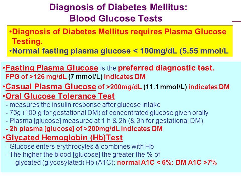 Diagnosis of Diabetes Mellitus: Blood Glucose Tests
