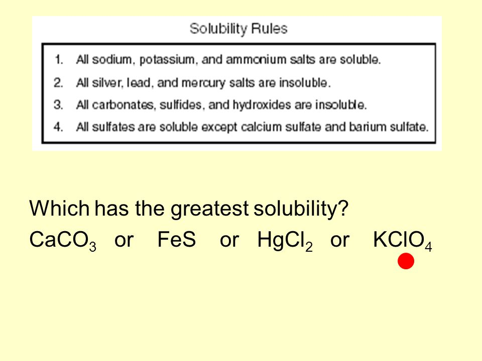Which has the greatest solubility