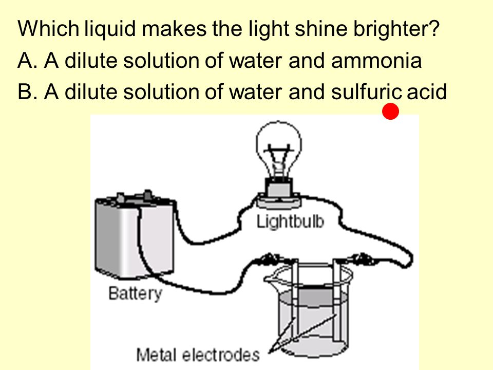 Which liquid makes the light shine brighter