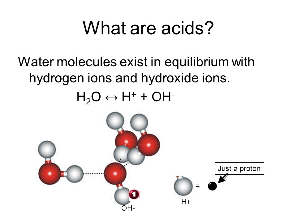 What are acids Water molecules exist in equilibrium with hydrogen ions and hydroxide ions. H2O ↔ H+ + OH-