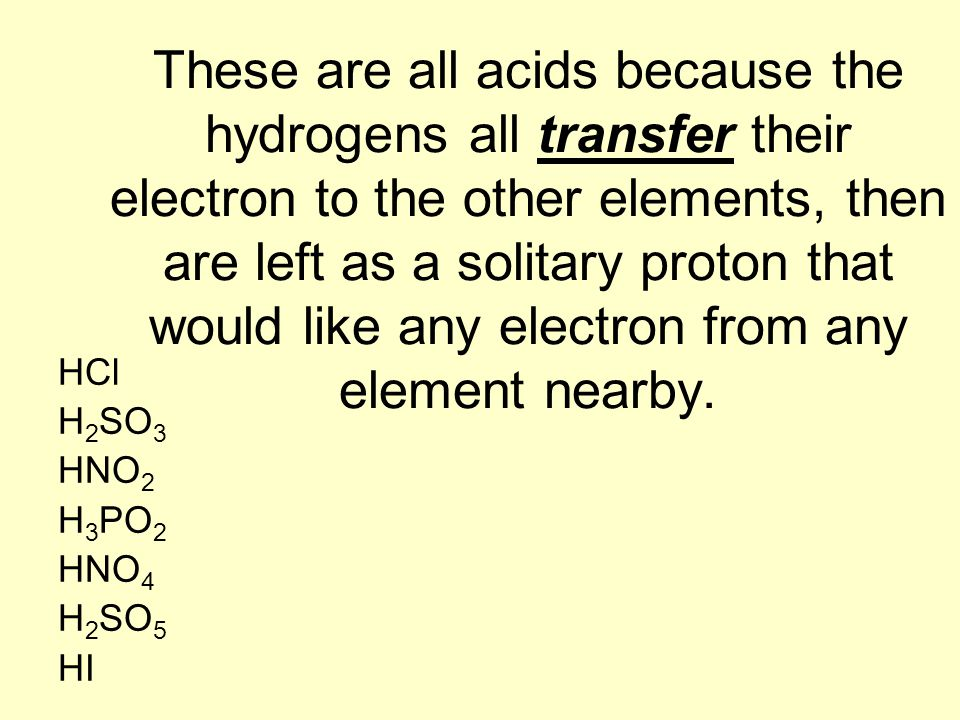 These are all acids because the hydrogens all transfer their electron to the other elements, then are left as a solitary proton that would like any electron from any element nearby.