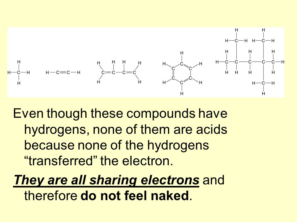 Even though these compounds have hydrogens, none of them are acids because none of the hydrogens transferred the electron.