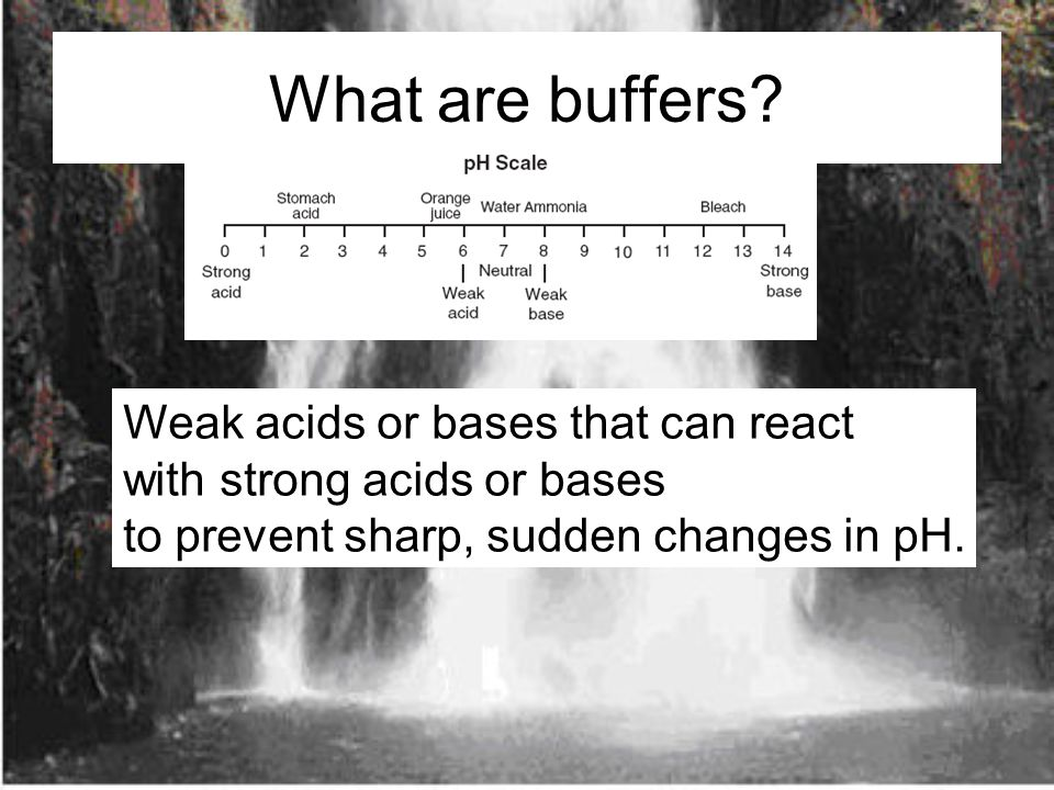 What are buffers Weak acids or bases that can react