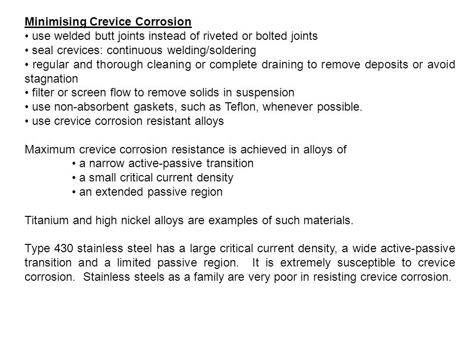 Minimising Crevice Corrosion
