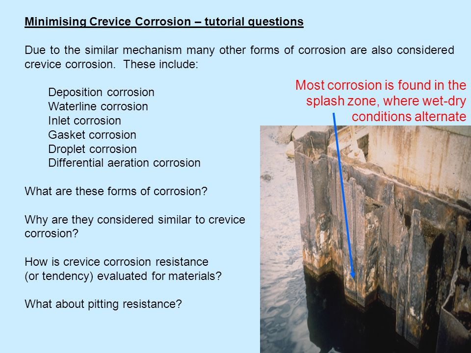 Minimising Crevice Corrosion – tutorial questions
