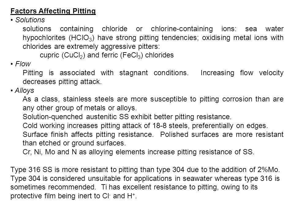 Factors Affecting Pitting