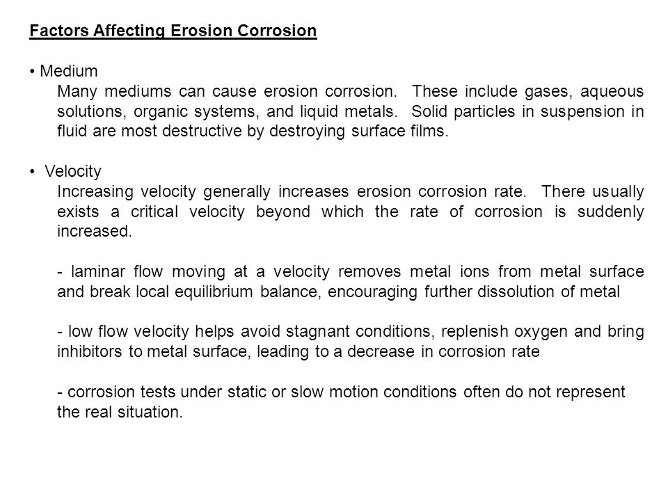 Factors Affecting Erosion Corrosion