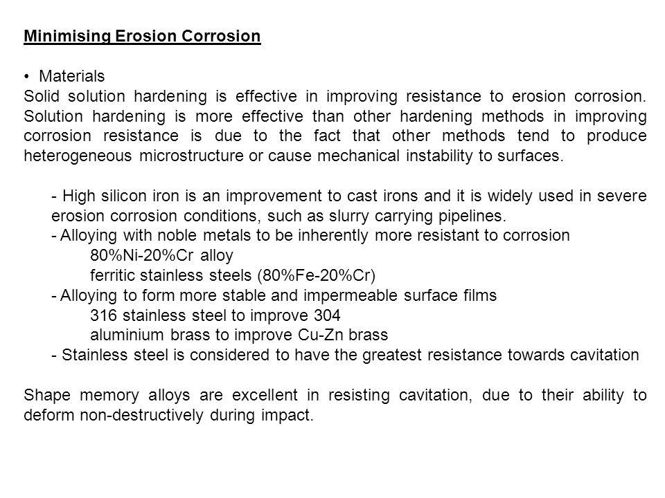 Minimising Erosion Corrosion