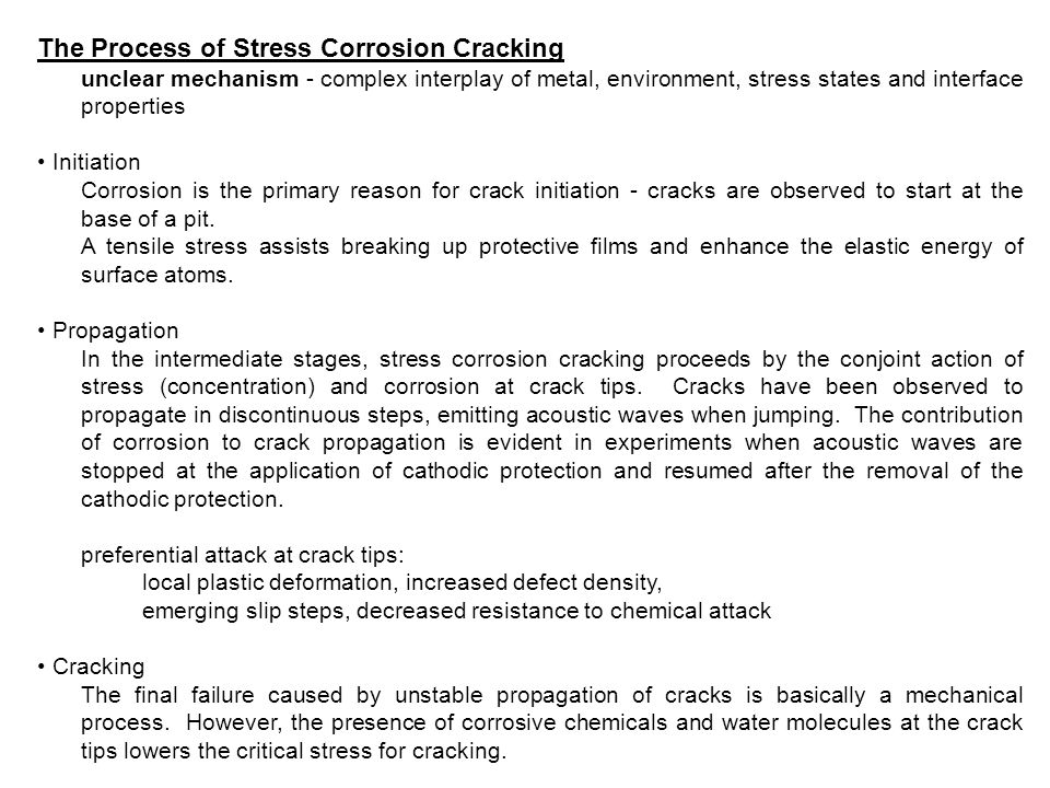 The Process of Stress Corrosion Cracking