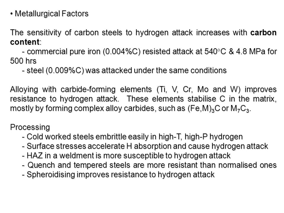 Metallurgical Factors