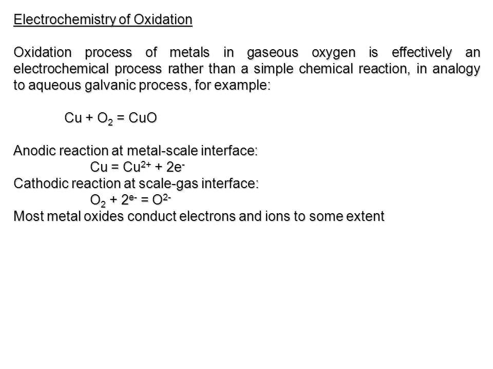 Electrochemistry of Oxidation