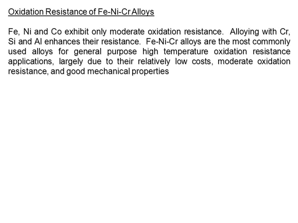 Oxidation Resistance of Fe-Ni-Cr Alloys