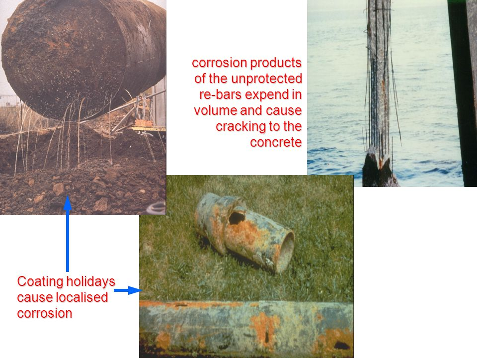 corrosion products of the unprotected re-bars expend in volume and cause cracking to the concrete