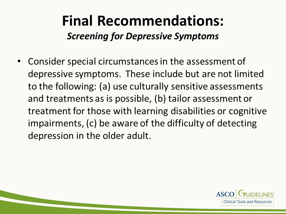 Final Recommendations: Screening for Depressive Symptoms