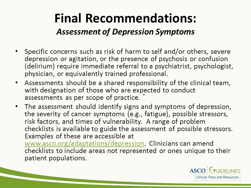Final Recommendations: Assessment of Depression Symptoms