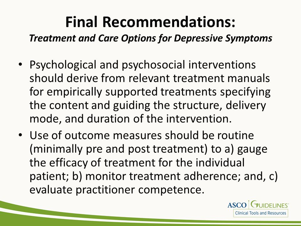 Final Recommendations: Treatment and Care Options for Depressive Symptoms