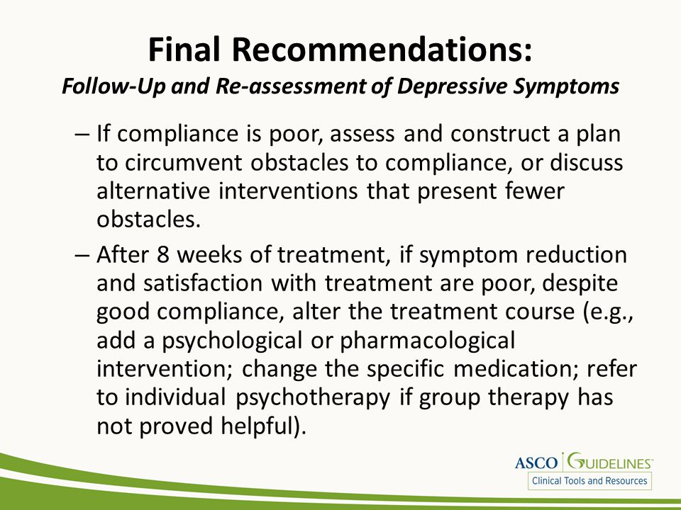 Final Recommendations: Follow-Up and Re-assessment of Depressive Symptoms