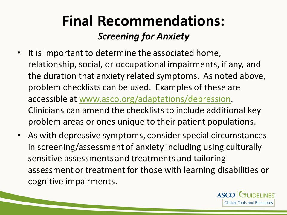 Final Recommendations: Screening for Anxiety