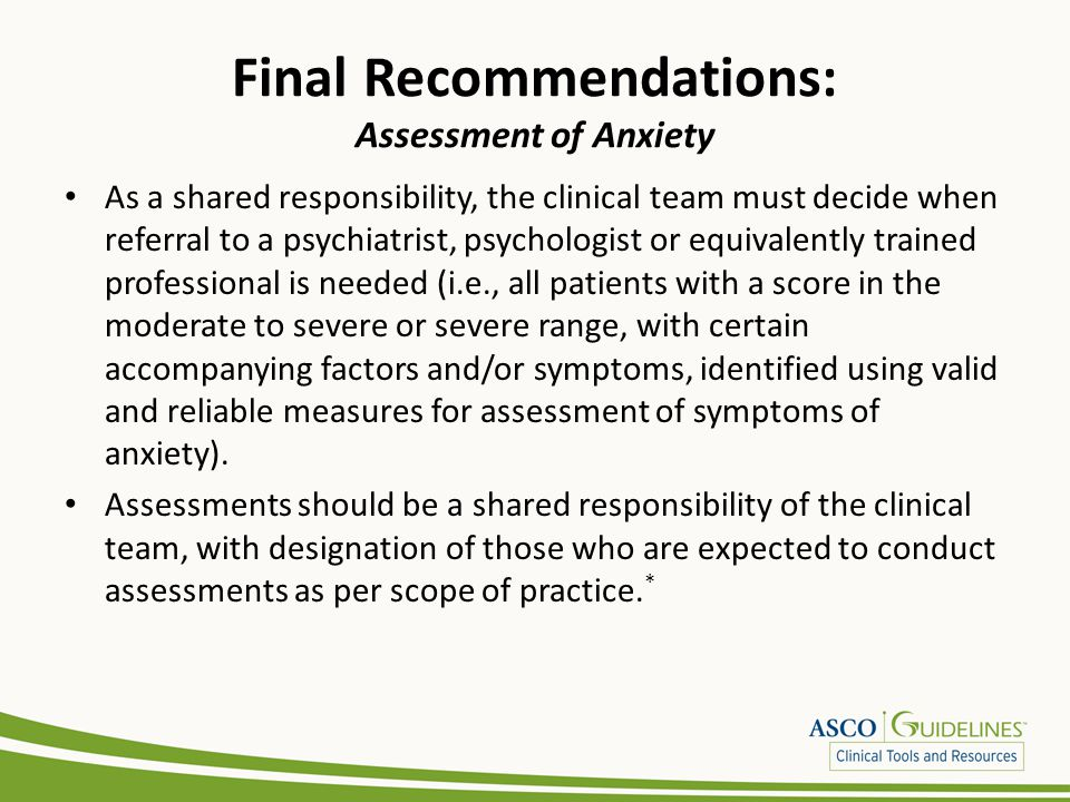 Final Recommendations: Assessment of Anxiety