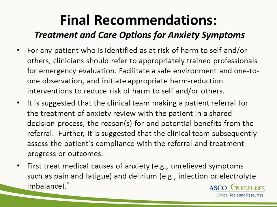 Final Recommendations: Treatment and Care Options for Anxiety Symptoms