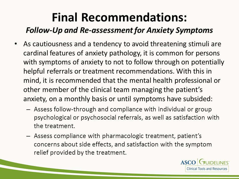 Final Recommendations: Follow-Up and Re-assessment for Anxiety Symptoms