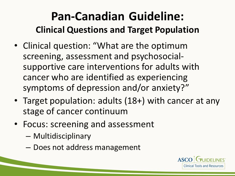 Pan-Canadian Guideline: Clinical Questions and Target Population