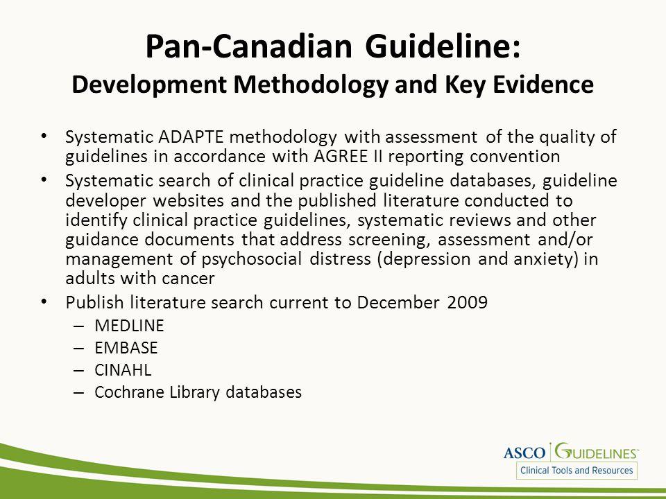 Pan-Canadian Guideline: Development Methodology and Key Evidence