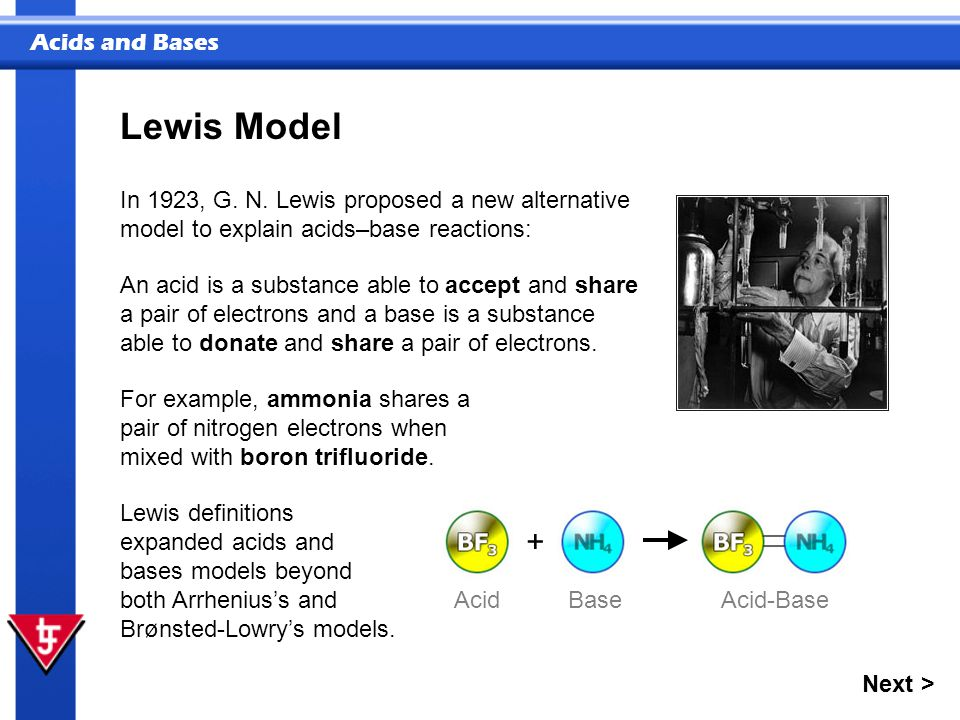 Lewis Model In 1923, G. N. Lewis proposed a new alternative model to explain acids–base reactions: