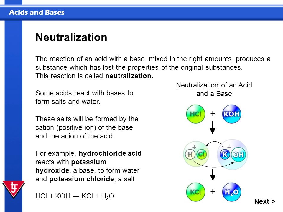 Neutralization of an Acid and a Base