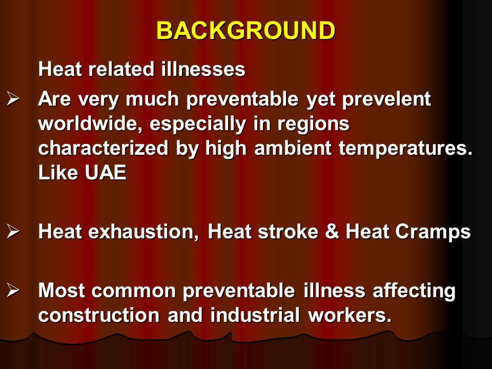 BACKGROUND Heat related illnesses