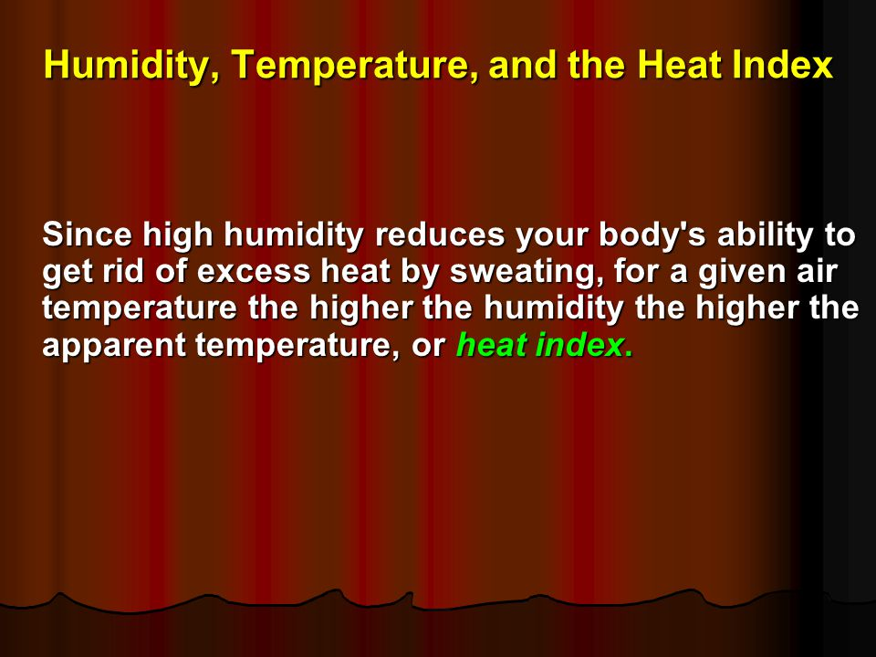 Humidity, Temperature, and the Heat Index