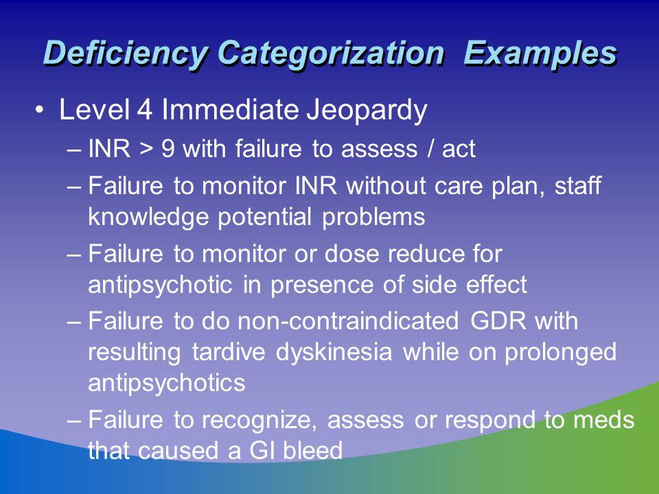 Deficiency Categorization Examples