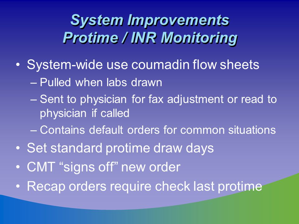 System Improvements Protime / INR Monitoring