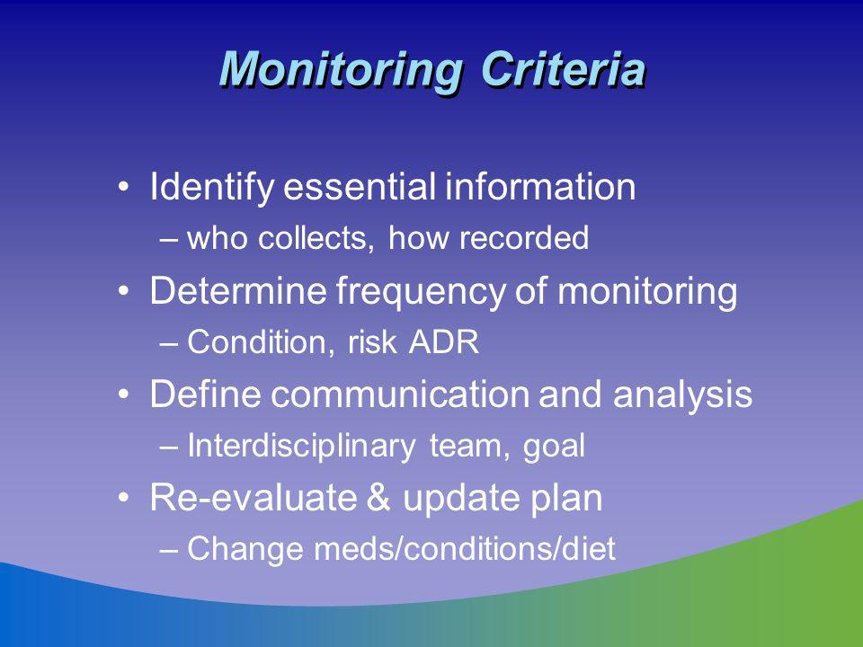 Monitoring Criteria Identify essential information