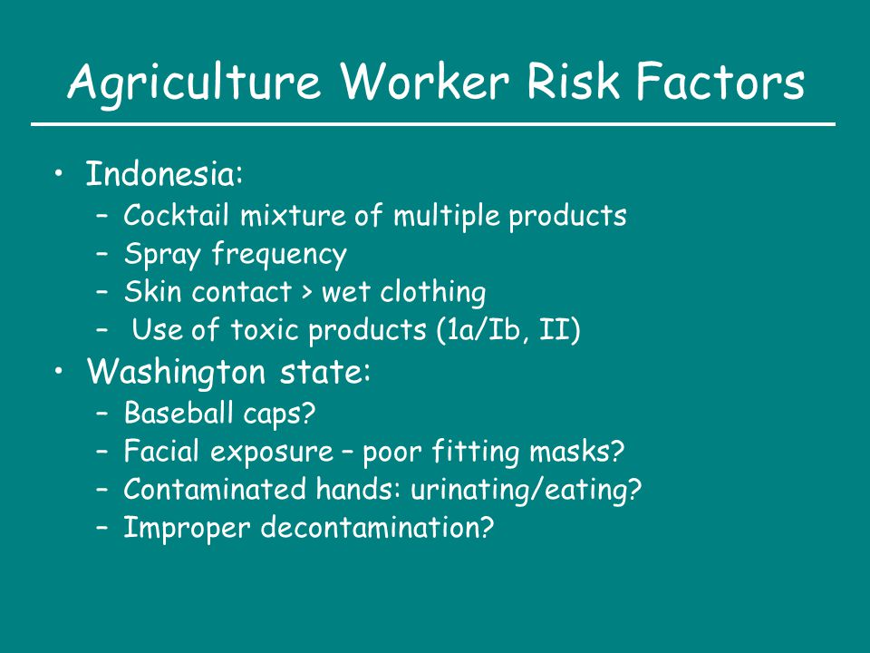 Agriculture Worker Risk Factors