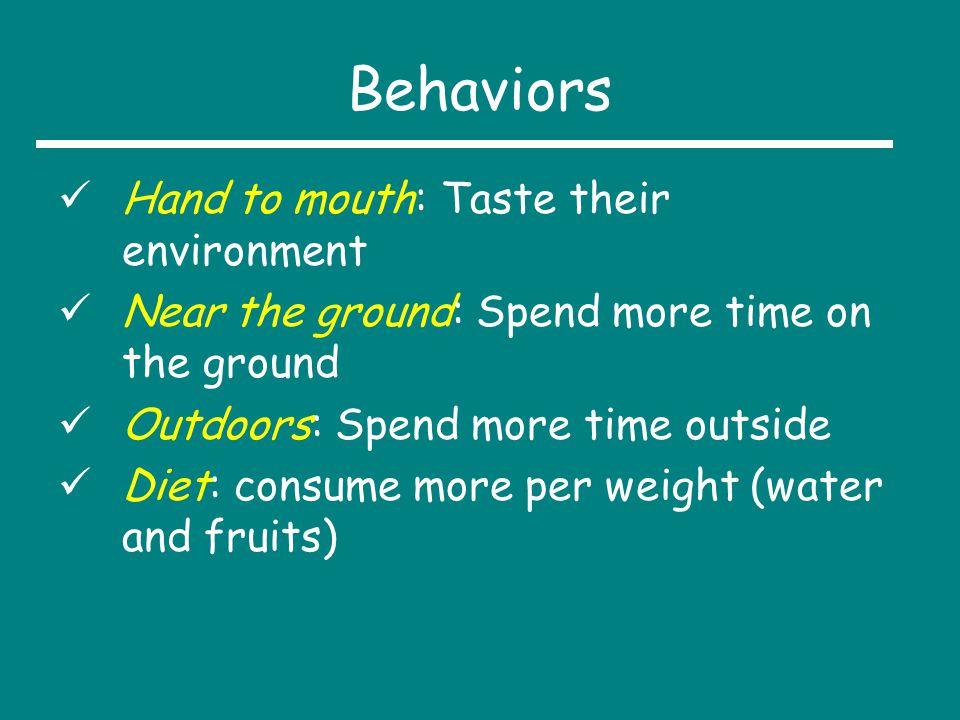 Behaviors Hand to mouth: Taste their environment