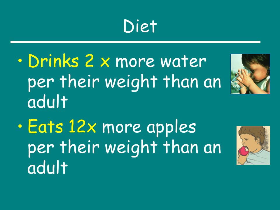 Diet Drinks 2 x more water per their weight than an adult.